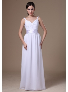 Empire Straps Floor-length Homecoming Dress With Belt