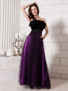 Feather Beaded Decorate Waist Strapless Tulle Purple And Black Formal Evening Prom Gowns