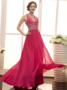 Fuchsia V-neck Beaded Decorate Shoulder Chiffon Modern 2013 Evening Gowns