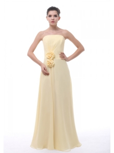 Hand Made Flowers Decorate Bodice Light Yellow Chiffon Floor-length Strapless Bridesmaid Dress For 2013