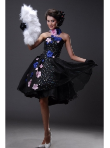 Handle-Made Flowers and Sequins Chiffon  Strapless Prom Dress