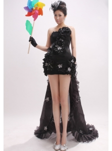 Handle-Made Flowers Organza Watteau Black Strapless Column Prom Dress
