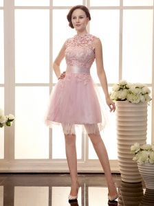 High Neck Pink Tulle Lace Decorate Bodice Brand New Custom Made Prom Gowns