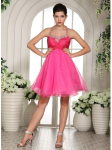 Hot Pink Beaded Spaghetti Straps Halter Prom Dress Knee-length