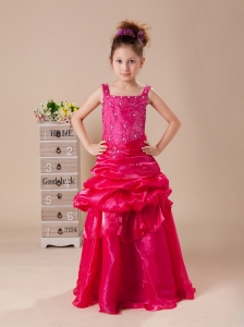 Hot Pink Column / Sheath Strap Beaded Decorate Shoulder Flower Girl Dress