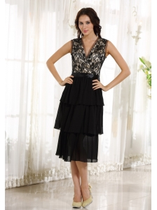 Lace Decorate Up Bodice Tea-length Black Chiffon Ruffled Layers 2013 Prom / Homecoming Dress