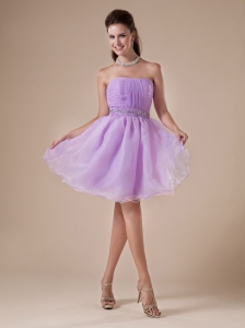 Lavender Beaded Decorate Waist Organza Princess Prom Dress With Strapless Neckline