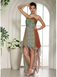 Leopard Chiffon Empire Sweetheart High-low Homecoming Dress For Custom Made