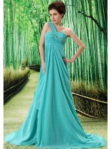 Light Blue One Shoulder Prom Dress Appliques and Ruch In Graduation