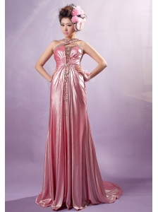 Light Pink Cross Straps Silk Like Satin Beading Prom / Evening Dress With Court Train