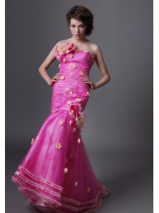 Mermaid Hand Made Flowers Decorate Bodice Hot Pink 2013 Prom / Evening Dress