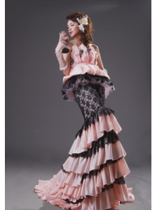 Mermaid Light Pink and Black Taffeta and Lace Appliques Brush Train Ruffled Layers 2013 Prom / Evening Dress
