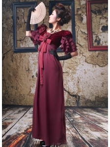 Modest V-neck 1/2 Sleeves Burgundy 2013 Mother of the Bride Dress With Hand Made Flowers