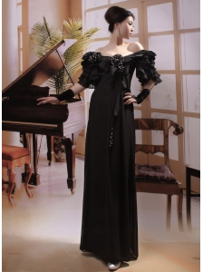 Off Shoulder Half Sleeves Black Chiffon Beaded Formal Mother of the Bride Dress