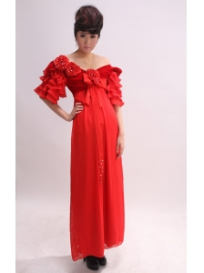 Off The Shoulder and Short Sleeves With Hand Made Flowers For 2013Mother of the Bride Dress