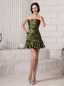 Olive Green Strapless Bodice Mini-length Taffeta Prom / Cocktail Dress Custom Made