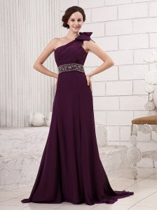 One Shoulder Bowknot Beaded Decorate Waist Brush Train Hottest For 2013 Evening Gowns