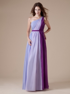 One Shoulder Colorful Chiffon Floor-length Simple Style For 2013 Bridesmaid Dress