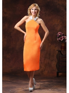 Orange Halter Neckline Satin Dama Dresses for Quinceanera With Tea-length
