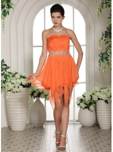 Organza Beaded Decorate Waist Asymmetrical Homecoming / Cocktail Dress For Custom Made