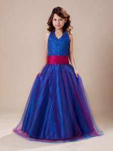 Paillette Over Skirt A-Line Sashes/Ribbons Royal Blue Halter Flower Girl Dress