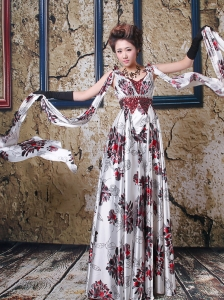 Printing V-neck A-line Watteau Train Prom / Evening Dress For Custom Made