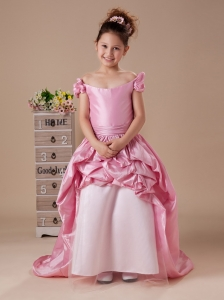 Rose Pink Off the Shoulder A-Line Short Sleeves Sweep Taffeta Custom Made Flower Girl Dress