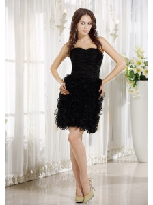 Ruched and Ruffles Decorate Bodice Sweetheart Neckline Black Organza Mini-length 2013 Prom / Homecoming Dress