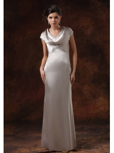 Silver V-neck Mother Of The Bride Dress With Short Sleeves