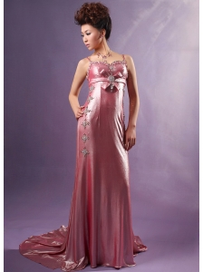 Silk Like Satin Spaghetti Straps Watteau Train Beading Prom / Evening Dress Light Pink