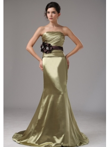 Strapless Mermaid Elastic Woven Satin Olive Green Prom Dress With Black Sash