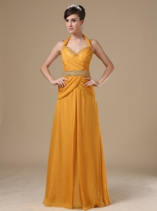 Straps Beaded Decorate Bust Waist Gold Chiffon Floor-length 2013 Prom / Evening Dress