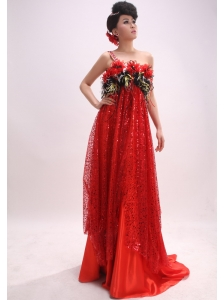 Stylish Paillette Over Skirt Red One Shoulder Brush / Sweep Sequins Empire Prom Dress