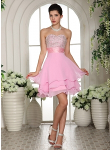 Sweetheart A-line Beaded For 2013 Bbay Pink Cocktail / Homecoming Dress