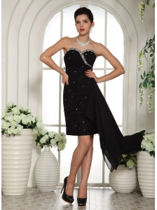 Sweetheart Beaded Mini-length Club For Black Cocktail Dress