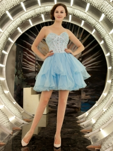 Sweetheart Organza Beaded Decorate Bodice Mini-length A-line Light Blue Cocktail Prom Gowns