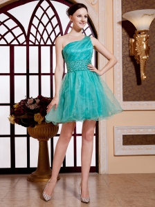 Turquoise One Shoulder Organza A-line Mini-length Beaded Decorate Waist Designer Custom Made Prom Gowns