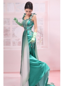 Turquoise Straps Beading Chiffon Brush / Sweep Empire Evening Dress