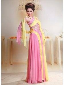 Unique Baby Pink and Yellow Chiffon Cross Neck Prom / Evening Dress For Custom Made