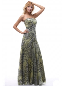 Unique Leopard Strapless Prom Dress Lace-up For Custom Made