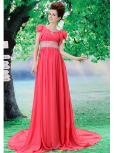 V-neck 2013 Prom Evening Dress With Beading and Ruch In Celebrity