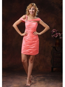 Watermelon Asymmetrical Neckline and Ruched Over Skirt For 2013 Custom Made
