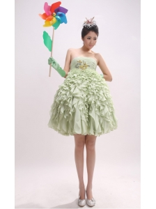 Yellow Green Ruffles and Ruched Bodice For Prom Dress