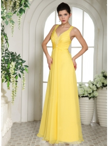 Yellow Straps Prom Dress With Appliques For Custom Made
