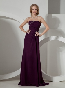 2013 Dark Purple Beaded Brush Train Prom / Evening Dress For Custom Made