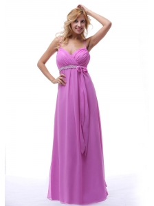 2013 Lavender Spaghetti Straps Ruch and Beaded Chiffon Prom Dress