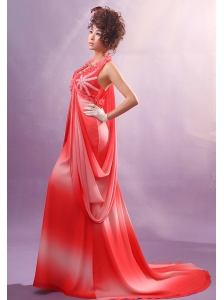 2013 Ombre Color Halter Applqiues Decorate Bust Prom Dress With Chiffon For Party