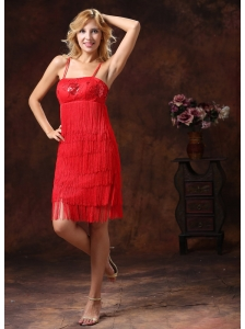 2013 Red Spaghetti Straps Embroidery With Sequins Knee-length Homecoming / Cocktail Dress