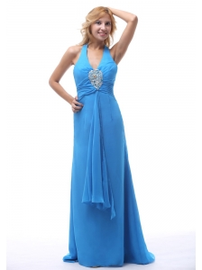 2013 Sky Blue Halter Beaded Prom / Evening Dress With Brush Train For Custom Made