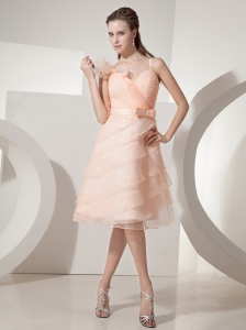 Baby Pink A-line Straps Ruched Bodice Knee-length Organza Beading Prom Dress